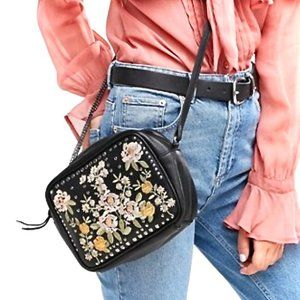 ASOS-Black Leather Floral Studded Crossbody Bag